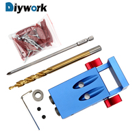 DIYWORK Drill Bit Accessories Puncher Furniture Punching Pocket Hole Jig Kit System Oblique Hole Locator Wood Work Tool Set