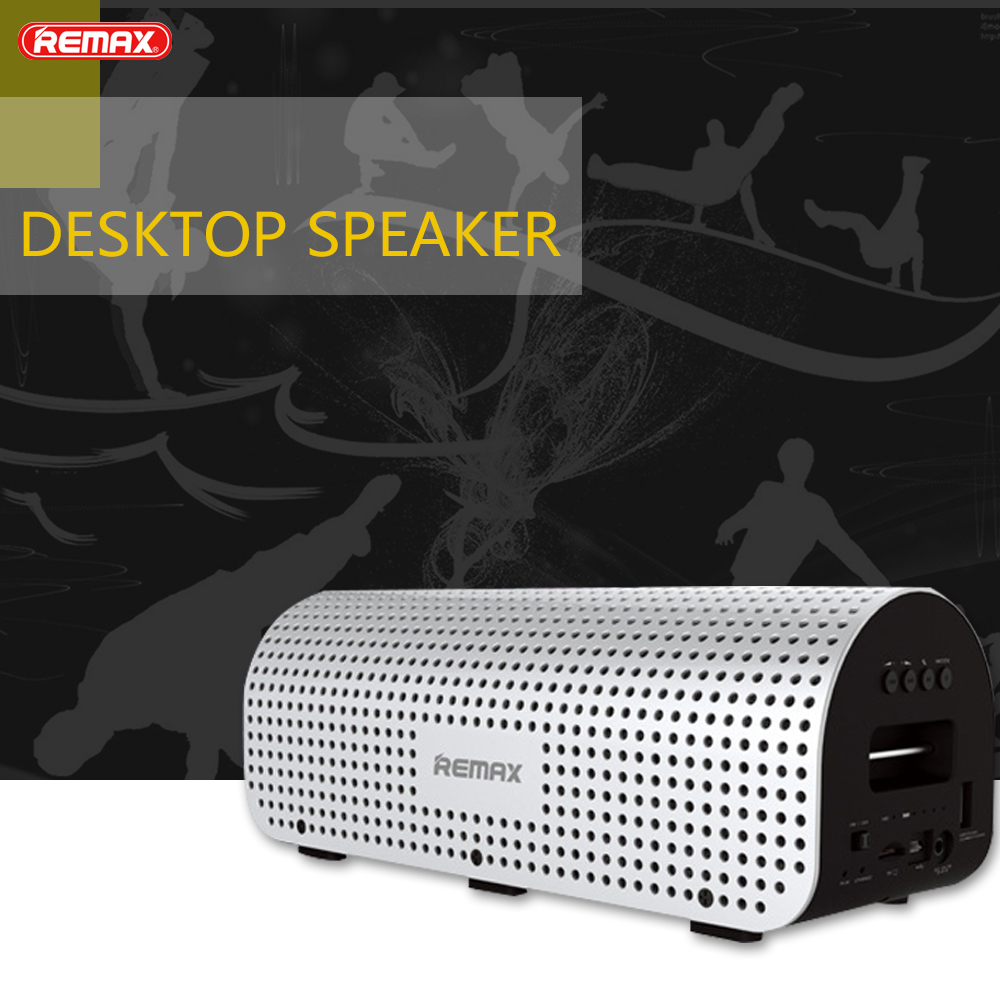 REMAX RB-H1 Desktop Bluetooth-speaker Metal Wireless NFC Speaker Portable 3D Stereo Surround Sound Column for xiaomi iphone 8 remax h1 desktop speaker leather straps power bank mini portable speaker rb h1 hifi box and 8800mah power bank 2 in 1 function