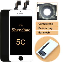 10pcs For iPhone 5 5G For Shenchao LCD Top Quality DHL Screen Display Touch Digitizer Assembly +Sensor Ring+Ear Mesh+Camera Ring