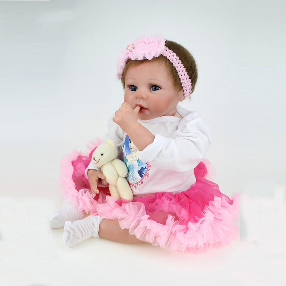 55cm Full Silicone reborn doll lifelike reborn baby Doll kids play house toy child birthday gift girl brinquedos Shower toys