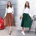 Autumn new waist was thin Pleated skirt elastic waist velvet in the long section skirts woman