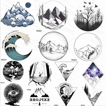 OMMGO Geometric Mountain Small Temporary Tattoos Sticker Wave Colorful Forest Custom Tattoo Body Art Arm Fake Tatoos Women Men
