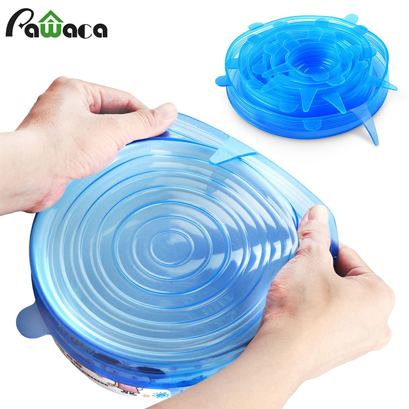6Pcs Silicone Stretch Air-tight Vacuum Lids Keep Fresh Leak Proof Food Bowl Cup Dish Cover Multi-functional Food Fresh Wrap