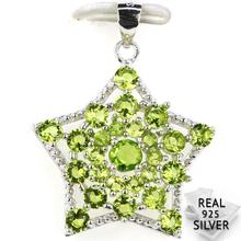 Guaranteed Real 925 Solid Sterling Silver 2.9g Romantic Star Shape Green Peridot CZ Engagement Pendant 30x23mm