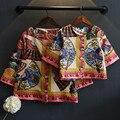 Мода цветок печати семьи сопоставления одежда Богемия стиль американской девочки куртка новое пальто семьи lookoutfits для партии