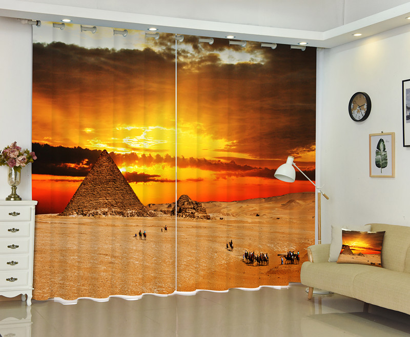 The Photo Of Egyptian Pyramids 3D Window Curtain Customized Size