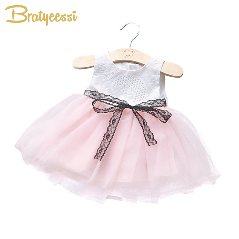 Cute Lace Baby Summer Dress with Bow Belt A-Line Sleeveless Infant Dresses for Girls First Birthday Party Christening Dress
