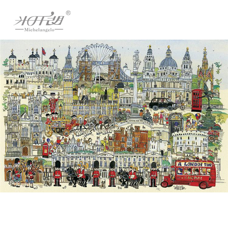 Michelangelo Wooden Jigsaw Puzzles 500 1000 Pieces London Town Cartoon Educational Toys Decorative Wall Painting Gift Home Decor(China)