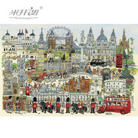 Michelangelo Wooden Jigsaw Puzzles 500 1000 Pieces London Town Cartoon Educational Toys Decorative Wall Painting Gift Home Decor