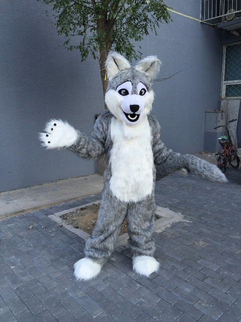 grey wolf mascot costumes for adults circus christmas Halloween Outfit Fancy Dress Suit Free Shipping real & grey wolf mascot costumes for adults circus christmas Halloween ...