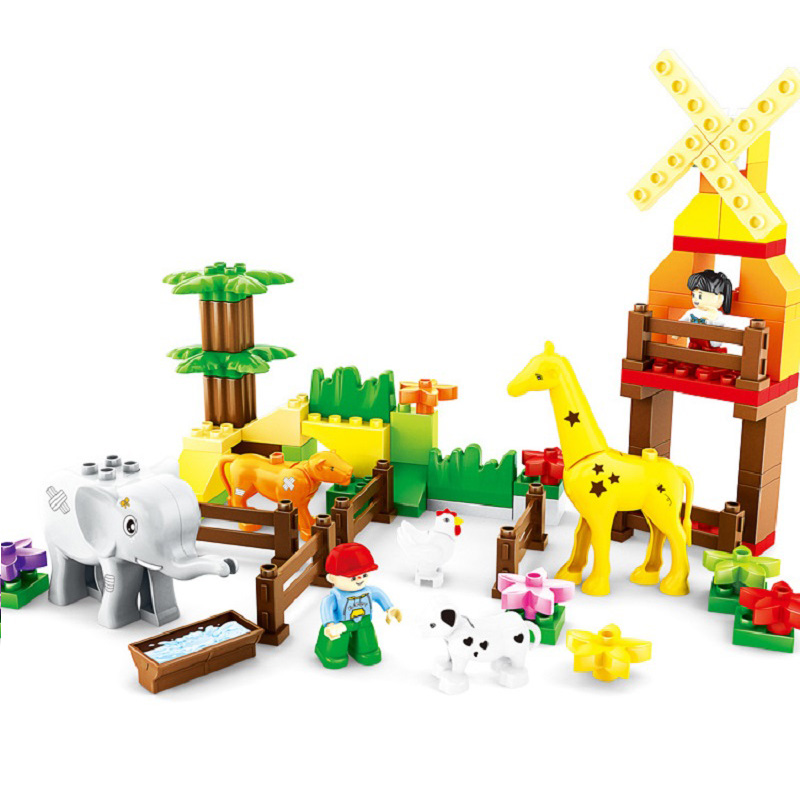 Big Size Diy Bricks Happy Farm Happy Zoo With Animals Building Blocks Sets Compatible Legoings Duploe Large Toys For Children qwz 39 65pcs farm animals paradise model car large particles building blocks large size diy bricks toys compatible with duplo