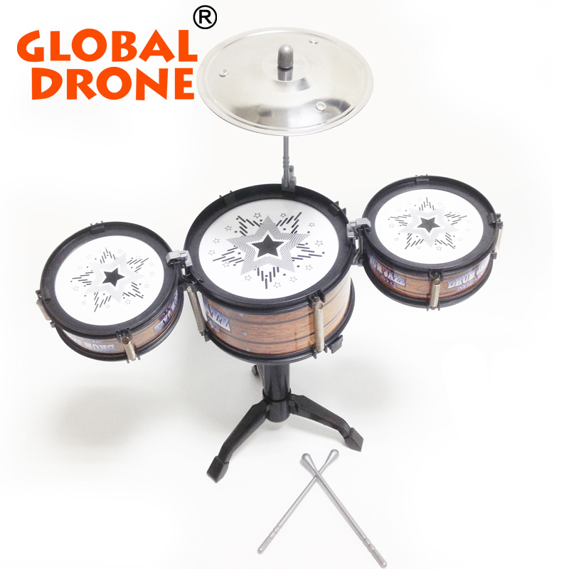 GLOBAL DRONE Children Jazz Drum Toy Cymbal Sticks Rock Set Musical Hand drum Kids diy funny Drums Gift Toy mini finger drum set touch drumming led light jazz percussion