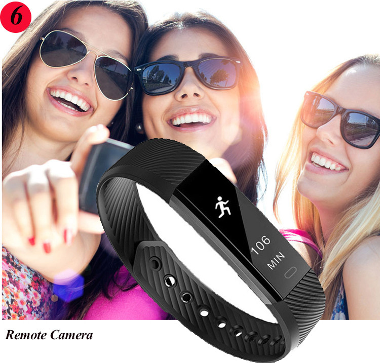 ID115 Smart Bracelet Fitness Tracker Step Counter Activity Monitor Band Alarm Clock Vibration Wristband for iphone Android phone 12