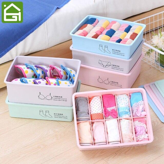 Home Wardrobe Clothing Organizer Dustproof Drawer Lingerie Underwear  Container Plastic Storage Box For Bra Socks Briefs
