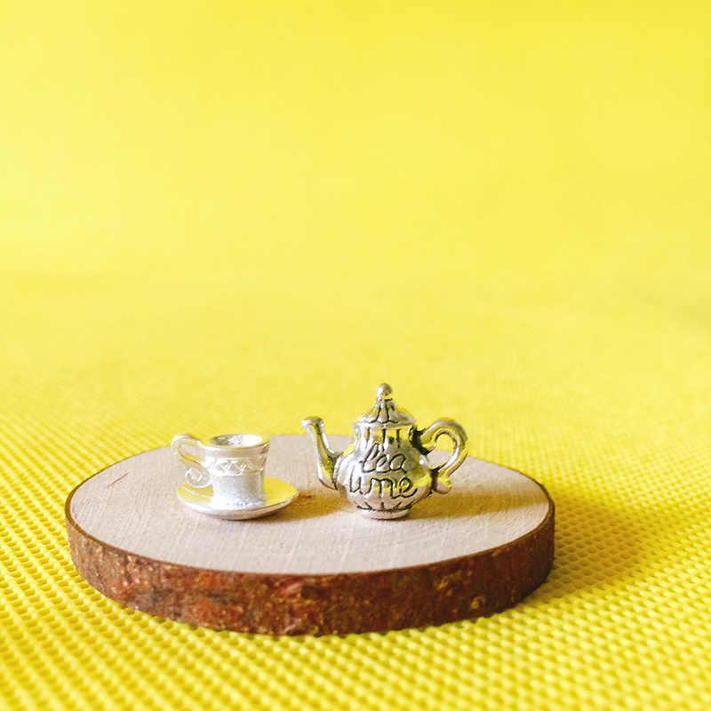 New~Vintage metal tea cup/kettle/miniatures dinnerware/cute/fairy garden gnome/moss terrarium decor/bonsai/figurine/doll house