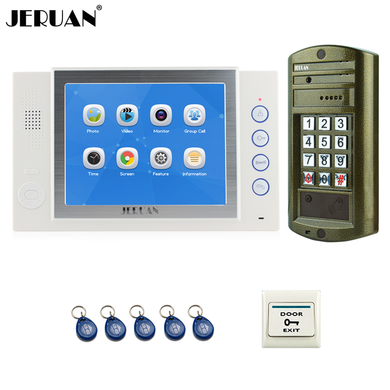 JERUAN NEW 8`` TFT Color Video Intercom Door Phone System kit White Monitor + Metal Waterproof Password keypad HD Mini Camera jeruan home 7 inch video door phone intercom system kit new metal waterproof access password keypad hd mini camera 2 monitor