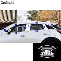 Estilo do carro de aço inoxidável janela vidro decore pilar coluna meio guarnição capuzes para mazda CX-3 cx3 2016 2017 2018 2019 2020