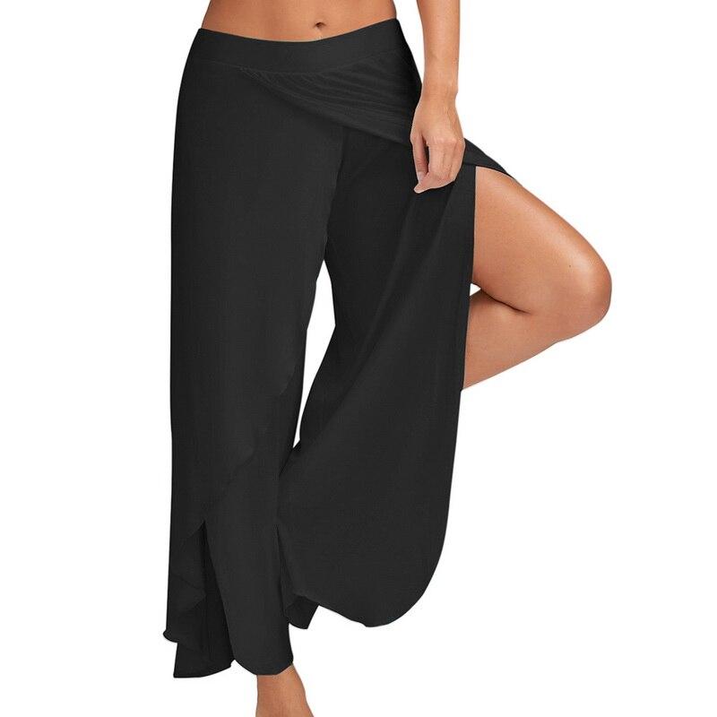 LASPERALPlus Boyutu Pantolon Kadın Moda Katı Yüksek Bel Geniş - Bayan Giyimi - Fotoğraf 2