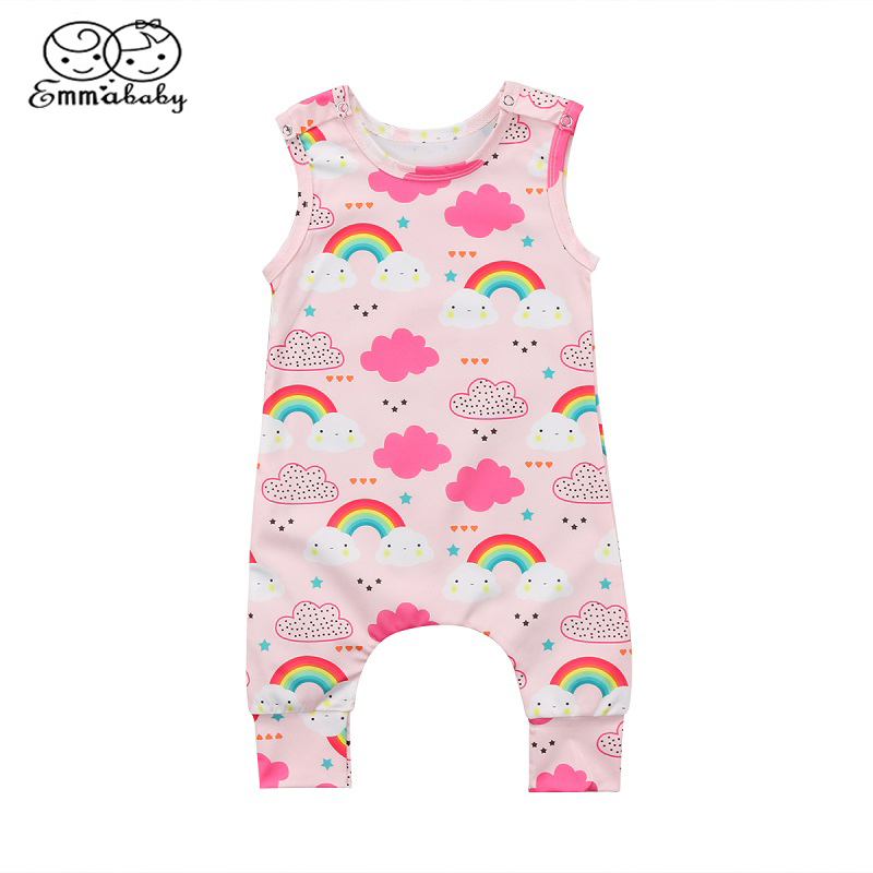 Emmababy Summer Kids Baby Girl Romper Jumpsuit Sleeveless Rainbow Baby Clothing Outfit
