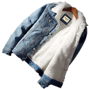 Image 1 - Men Jacket and Coat Trendy Warm Fleece Thick Denim Jacket 2020 Winter Fashion Mens Jean Jacket Outwear Male Cowboy Plus Size 6XL
