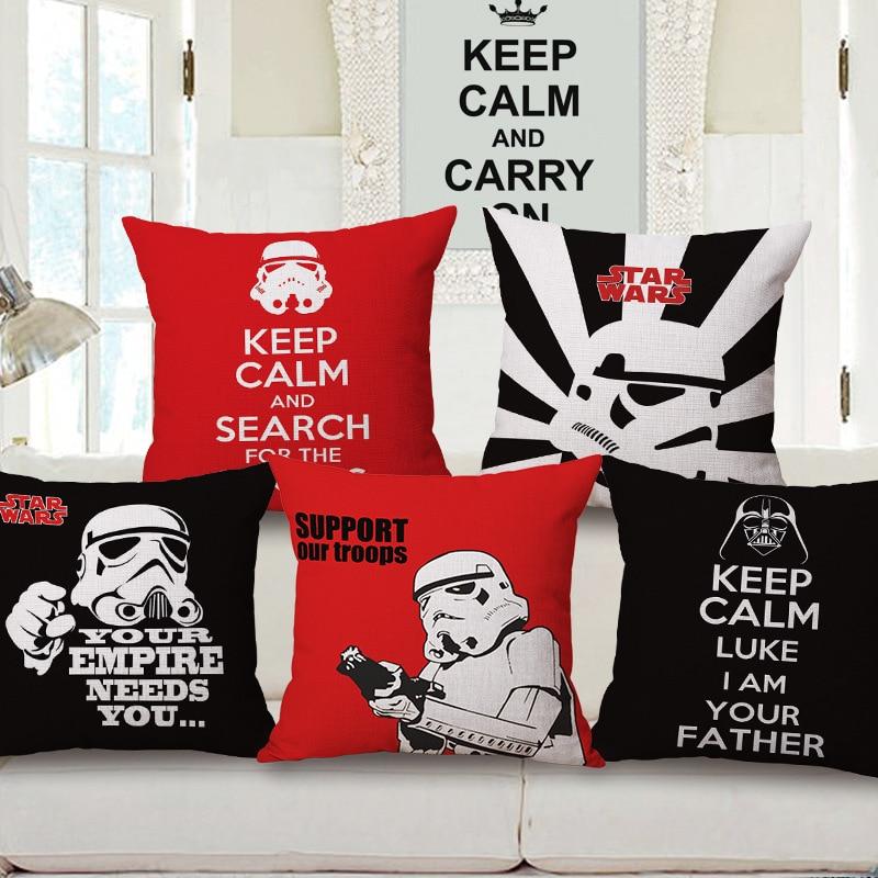 Efficient Star Wars Cartoon Picture Decorative Sofa Waist Cushions Bed Sofa Throw Cotton Linen Square Pillows Home Garden Decor Fine Craftsmanship Cushion Cover
