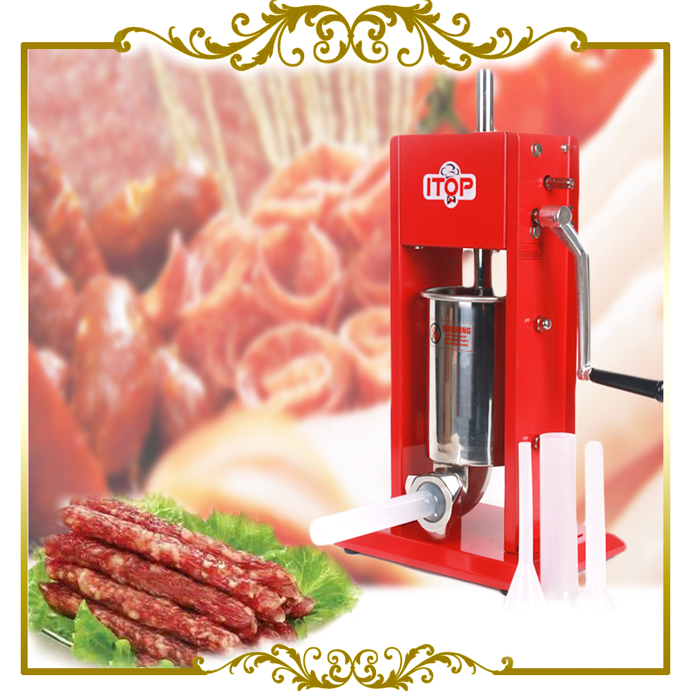 ITOP 3L Meat Sausage Stuffers Stainless Steel Hand Operated Sausage Filler Salami Maker Machine of Kitchen Tools zonesun manual sausage meat fillers machine food maker hand operated sausage machines for sausage meat poultry