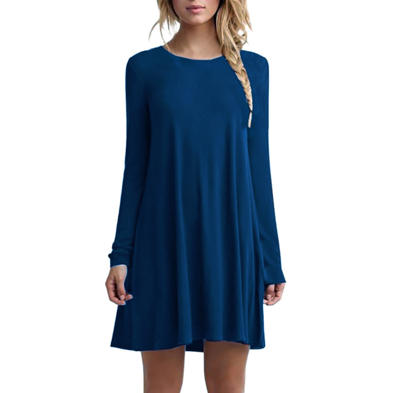 Women Fashion Casual Soild Plain Long Sleeve Round Neck Tunic Brief Loose Mini Party Dress Plus Size