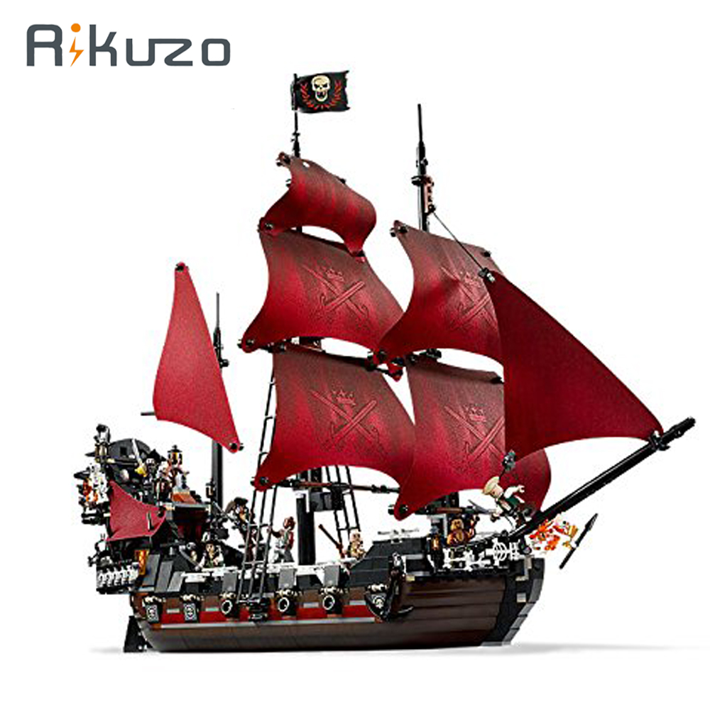 Rikuzo 1151pcs Queen Anne's reve Pirates of the Caribbean Ship Model Toys Compatible legoing lepin DIY Toys Gift