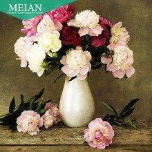 Meian, new diamond painting Peony cube small living room bedroom 5D Diamond Cross Stitch stick painted brick show Needlework(China)
