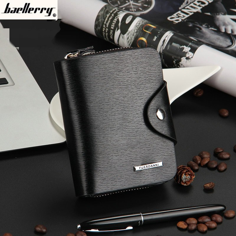 Baellerry Mens Business PU Leather Wallet Zipper Hasp Short Purse High Quality Multifunctional Classic Small Bag DXW01