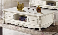 white wooden coffee table storage drawer marble top made in China living room furniture
