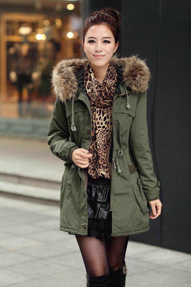 women winter detachable big fur hood coat army green faux. Black Bedroom Furniture Sets. Home Design Ideas