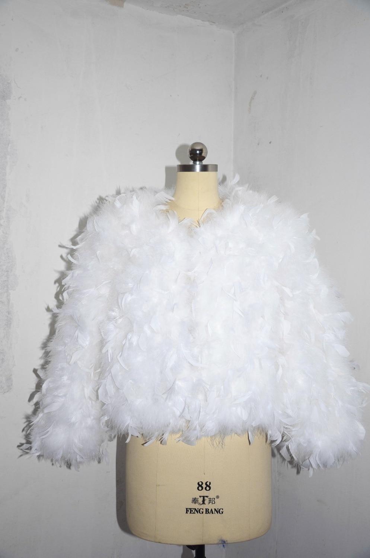 Bolero Rouge Mariage dedans femmes shrug faux plumes 3/4 manches longues bolero mariage veste