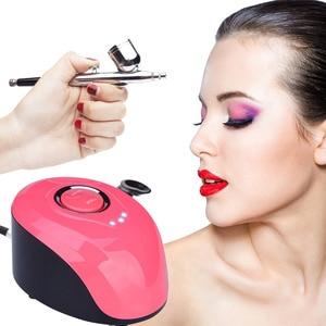 Image 3 - Nail Airbrush Kit Compressor Portable 0.2mm Nail Airbrush Tattoo Make Up 3 Speeds Modes Tool For Nail Art Tools