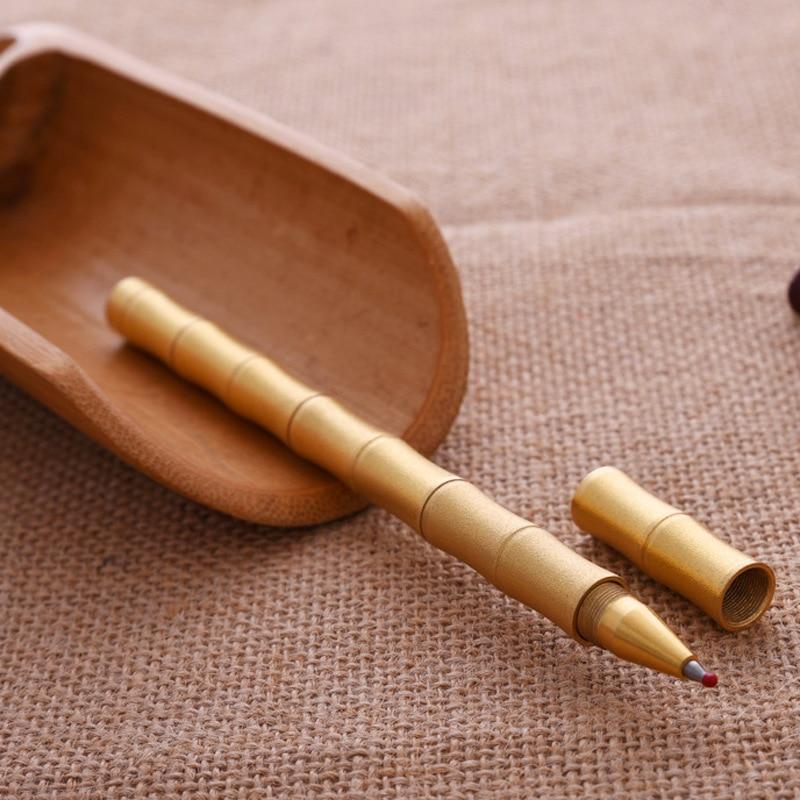 2PCS PACK Vintage klasické bambusové kuličkové pero zlaté ručně lesklé mosazné měděné gelové pero pro obchodní dárky a kancelářské školy