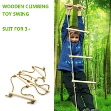 Children Toy Swing Outdoor Indoor Wood Ladder Rope Playground Games For Kids Climbing Rope Swing Wooden