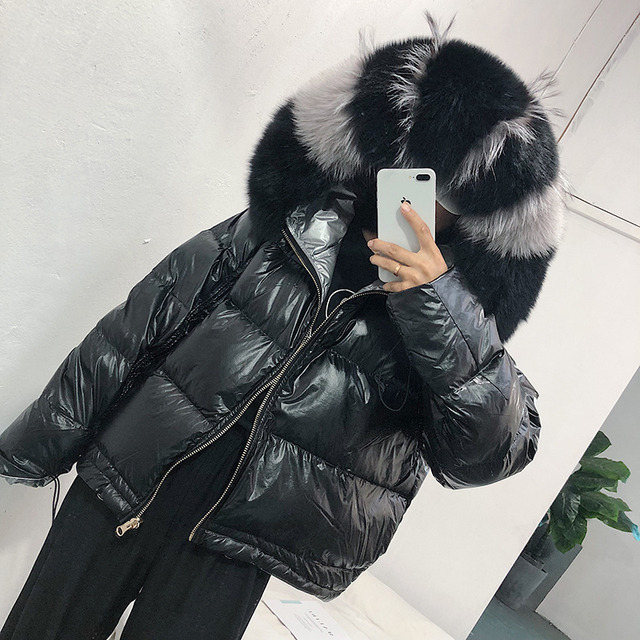 Real Fur Coat Natural Fox Fur Collar 2019 Winter Jacket Women Loose Short Down Coat White Duck Down Jacket Thick Warm Down Parka 5