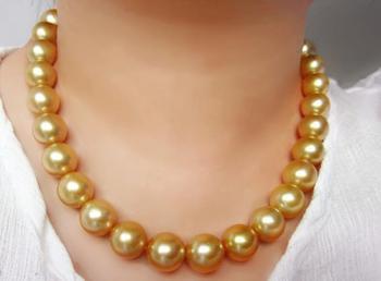 Великолепное 12-15 мм Южное море круглое Золотое Жемчужное ожерелье 18 дюймов 14k