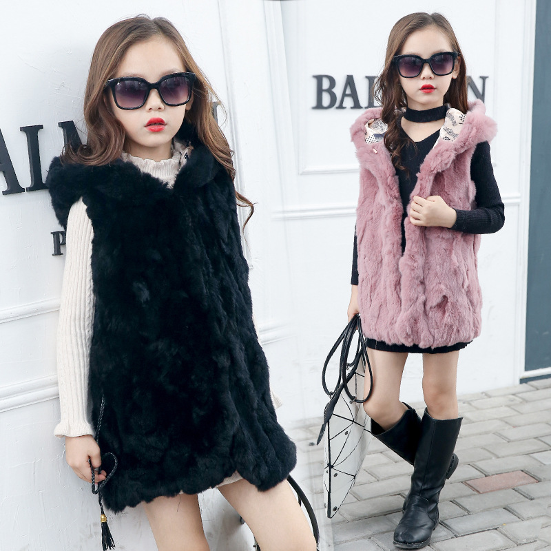 JKP 2018 Children's fur coat vest Girls' high-end rex rabbit fur casual long fashion hooded Outerwear kids fashion coats ZPC-128 цена