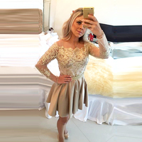 Elegant Gold A Line Lace Long Sleeve Homecoming Dresses 2017 With Crystal Short 8th Grade Graduation