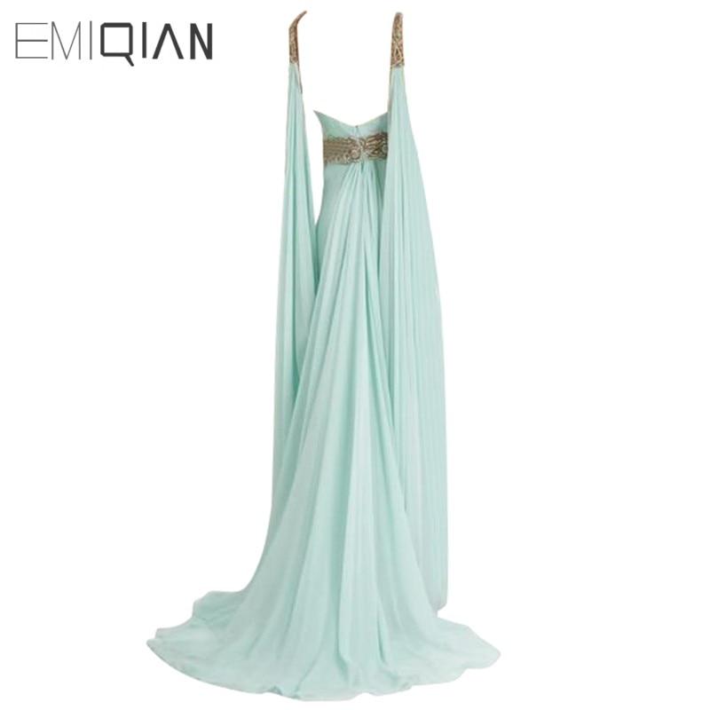 V Neck Backless Lange Chiffon Pageant Kleider, Gold Perlen Abendkleider, Formale Abendkleider - 2