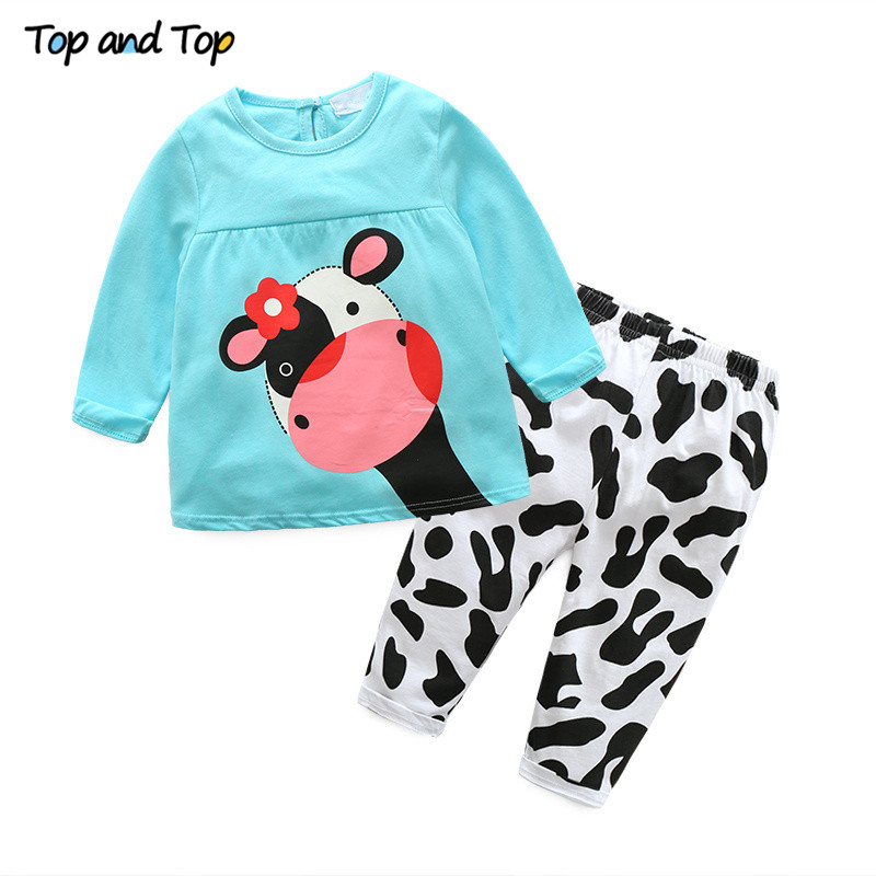 Hot-sale-spring-autumn-baby-girl-clothes-casual-long-sleeved-T-shirtPants-suit-Tracksuit-the-cow-suit-of-the-girls-1