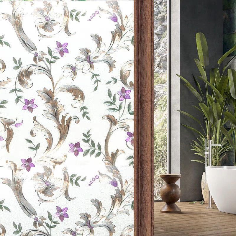 Ombre flowers3D Crystal diamond Home Window Cover Film No-Glue stained New Year Decorative Privacy Glass Stickers 45/60/75*200cm