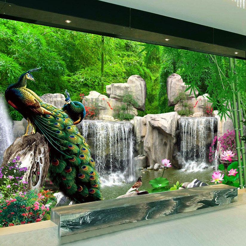 3D Wall Mural Natural Scenery Wallpaper Landscape Bamboo Forest Falls Peacock Bedding Room 3D Non-woven Wall Paper TV Background