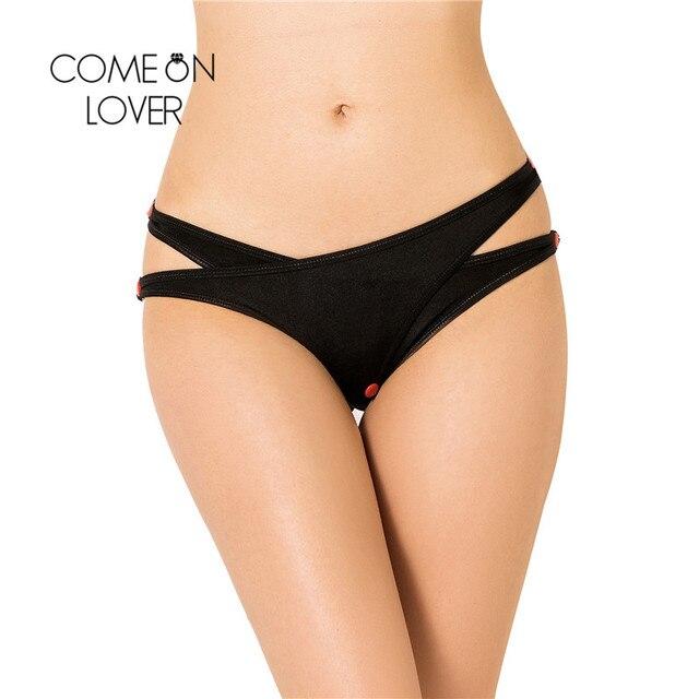 771ca9eb1 Comeonlover 2 Piece A Lot Plus Size Thong Panties Crisscross Cutout Naughty Crotchless  Panties With Button Nylon Panties PI5120