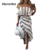 Ailunsnika 2017 Summer Women Sexy Fashion White Gray Stripe Patchwork Ruffles Strapless Backless Party Beach Long