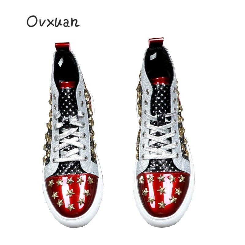Estrelas de luxo Marca de Moda de Alta Top Sneakers Metal Ouro Rebite Cravejado sapatas dos homens Costura Apartamentos Casuais Botas atacado Dropshipping - 2