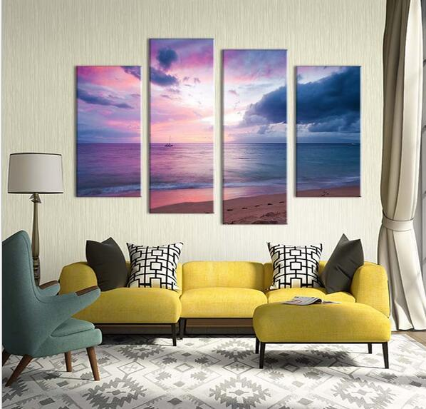 4 Piece Twilight Sunset Living Rooms Beach Painting On Canvas For Home Decor Ideas Paints Abstract