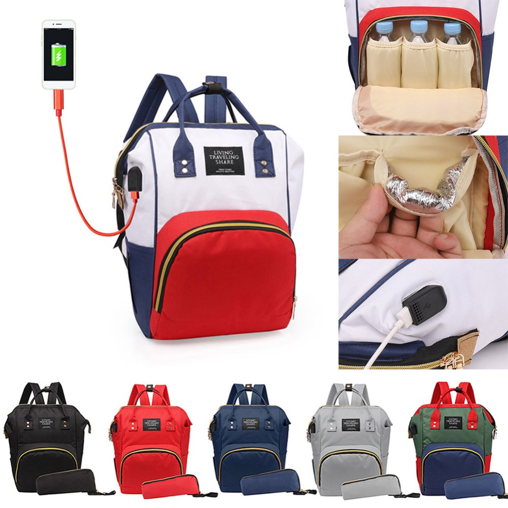 8 Colors USB Mummy Multifunctional Diaper Bag Baby Care Nappy Bag Mom Outdoor Nursing Backpack Clutch Handbag Nappy Organizer