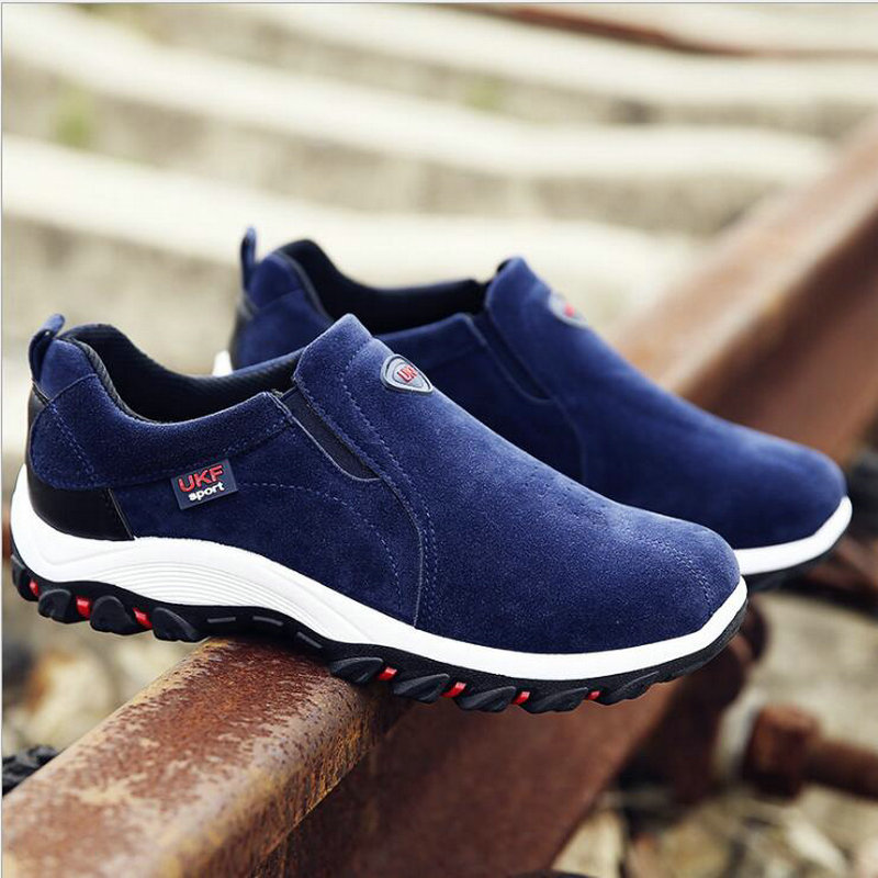 New Autumn Men Mountain Sneakers Slip On shoes Male Suede Leather Trekking Hiking Shoes Outdoor Sneakers Hiking Shoes HB-18Z 5
